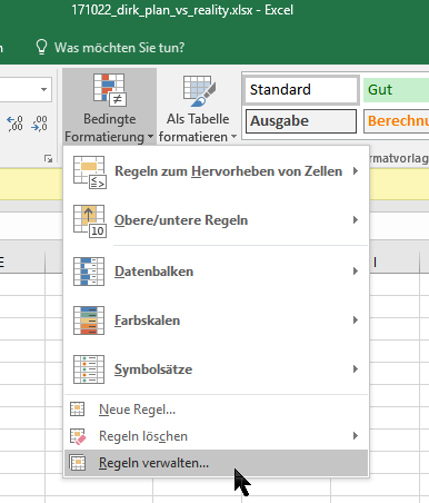 Menu in Excel